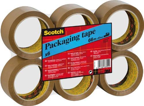Scotch Verpackungsklebeband - 66 m - 6 Rollen (BRAUN + KLAR)