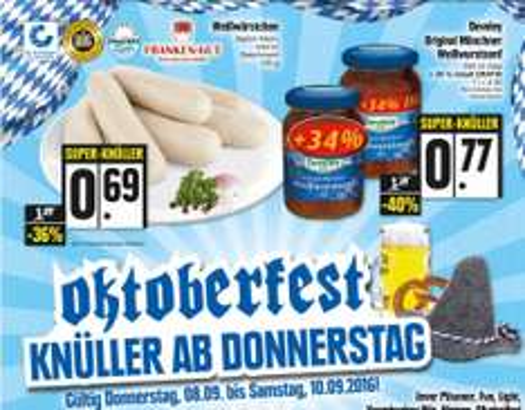 [lokal Region Franken] 100g frische Weißwürste für 0,69€ / Develey Weißwurstsenf mit 34% mehr Inhalt für 0,77€ @ Edeka