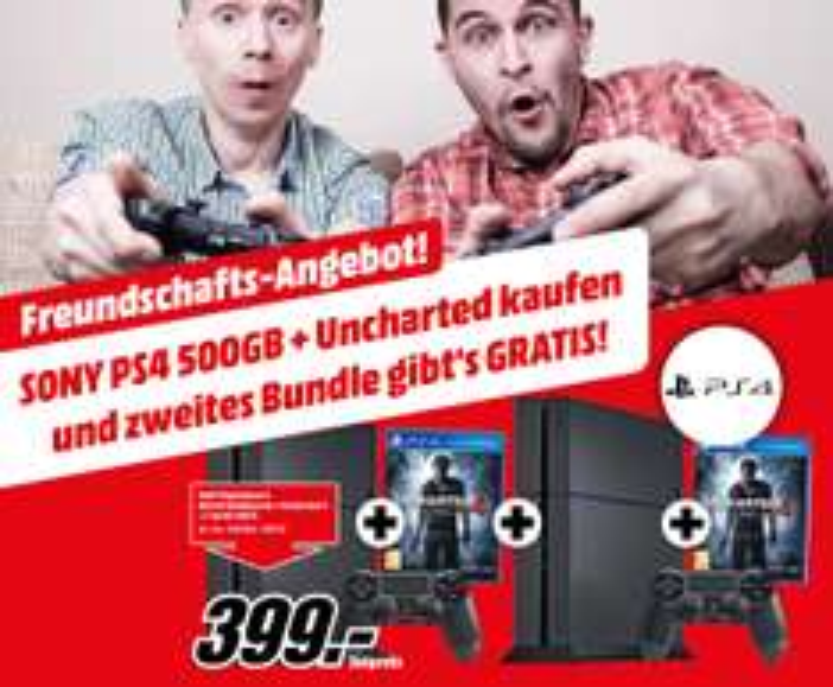 2 x Sony PS4 500GB + 2x Uncharted 4 für 399€ @Mediamarkt Österreich