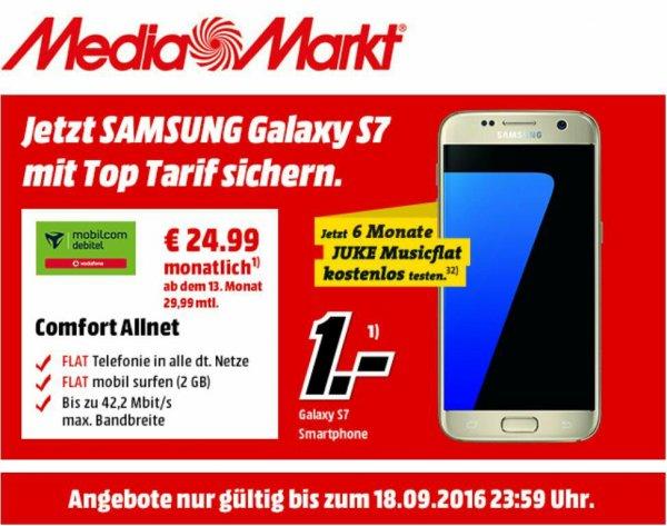Samsung Galaxy S7 1€ mit Mobilcom Debitel Comfort Allnet Flat 2GB für 24,99€ mtl.in den ersten 12 Monaten, danach 29,99€ + 6 Monate Juke Musicflat und Aktionteilnahme [Media Markt]