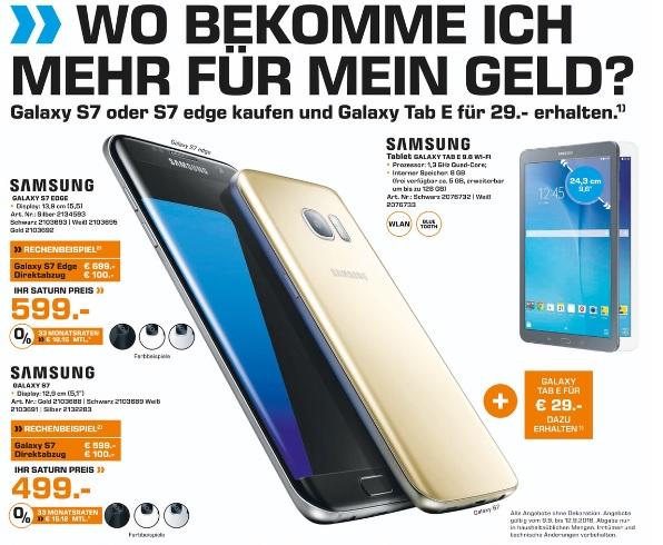 [Saturn - Vor Ort] Samsung Galaxy S7 für 499 € oder das S7 edge für 599 €