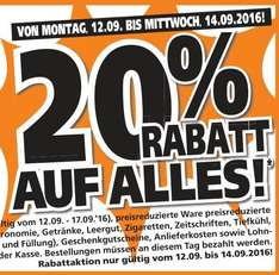 [Globus Baumarkt - lokal] 23 Jahre Baumarkt Wiesental - 20% Rabatt