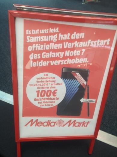 Samsung Galaxy Note 7 849€ + 100€ Gutschein (MediaMarkt). (Lokal HH)