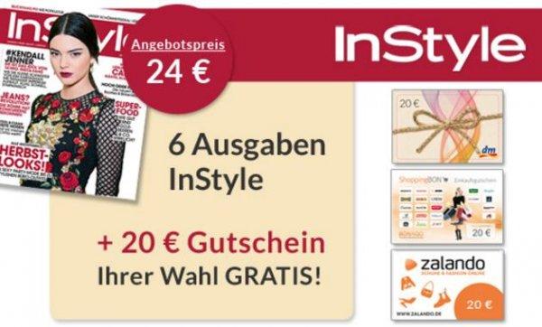 """6 Ausgaben """"InStyle"""" für 4,00€ durch 20,00€ Gutschein (ShoppingBon)"""