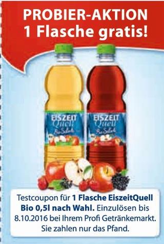 [lokal Rhein-Main Gebiet] Kostenlose 0,5l Flasche Eiszeitquell Bioschorle @ Profi Getränke Shop Märkte