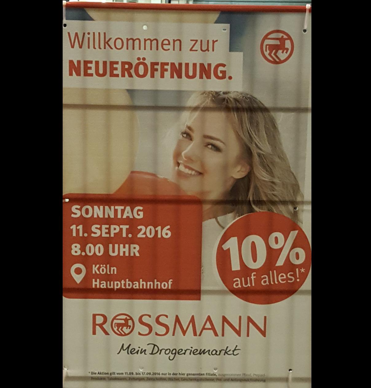 [Rossmann Köln Hbf] 10% auf alles vom 11.09.2016 bis zum 17.09.2016