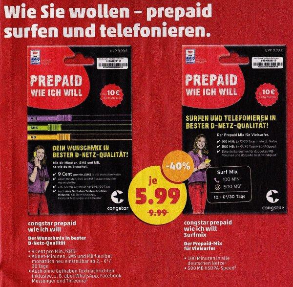 [Penny] Congstar (D1) Prepaid wie ich will für 5,99€ statt 9,99€
