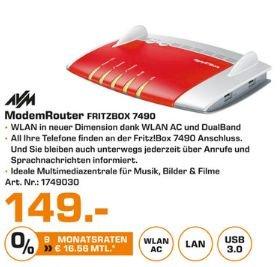[Lokal Saturnmärkte Hamburg ab 14.09] AVM FRITZ!Box 7490 Wireless Lan AC + N Router (VDSL/ADSL, 1.300 Mbit/s (5 GHz), 450 Mbit/s (2,4 GHz), DECT-Basis, Media Server) für 149,-€