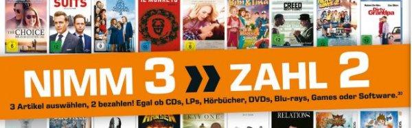 [Lokal Saturnmärkte Hamburg ab 14.09]  Nimm3 ►Zahl 2 Aktion auf Alle LPs,CDs,DVD,s,BluRays,Games und Sotware