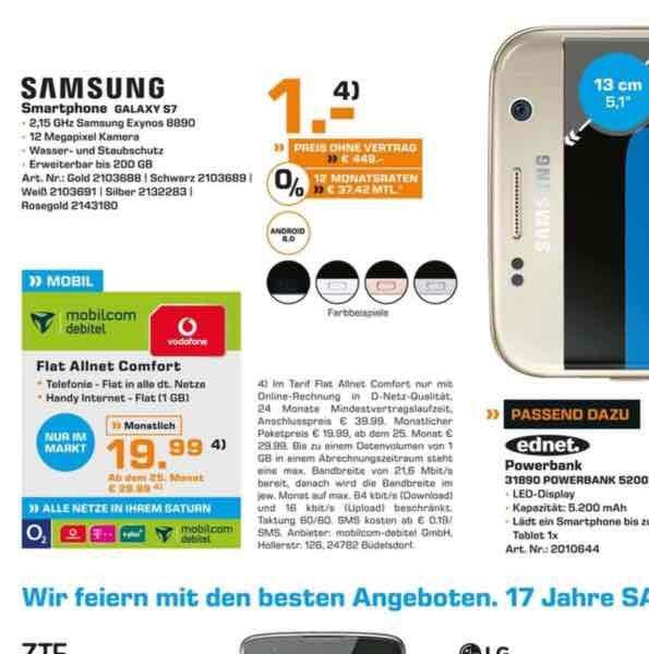 Samsung Galaxy S7 32GB Vodafone Allen Comfort 519,75,- in 2 Jahren ! Jetzt Bundesweit bei SATURN !