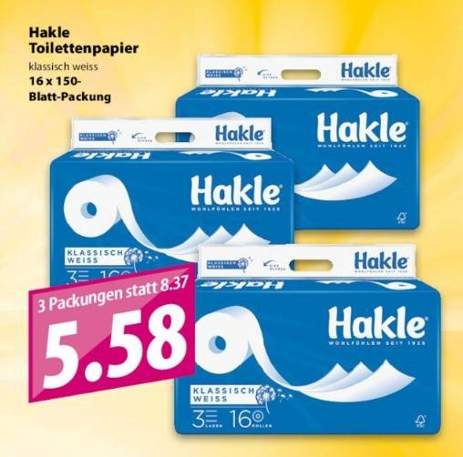 Famila Nordwest: Insgesamt 48 Rollen Hakle Toilettenpapier (3mal 16 Rollen a 150 Blatt / 3lagig) für zusammen 5,58 Euro (umgerechnet 1,86 Euro pro Packung).