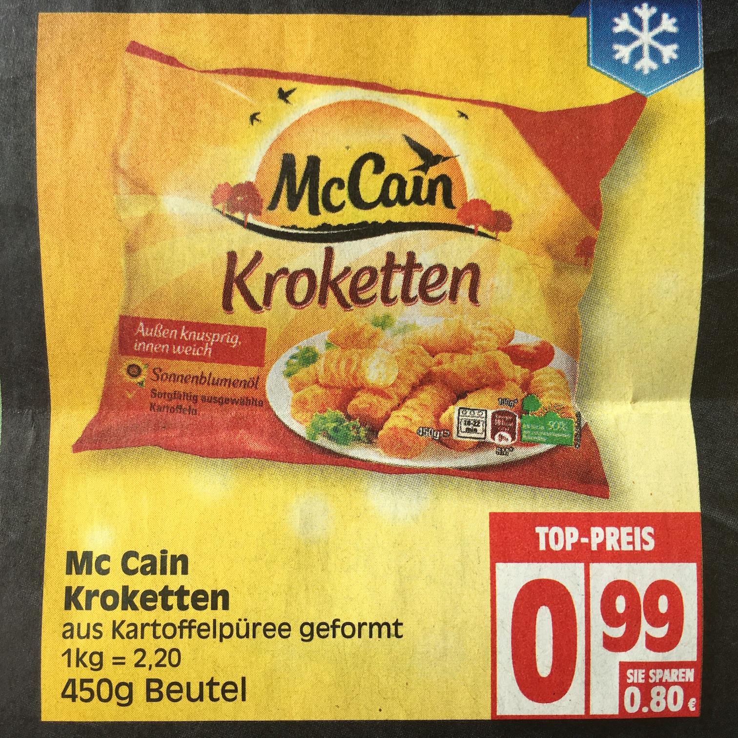 [Edeka] Für 29 Cent - McCain-Kroketten 450g - Angebot + Gutschein ab 12.09.-17.09.