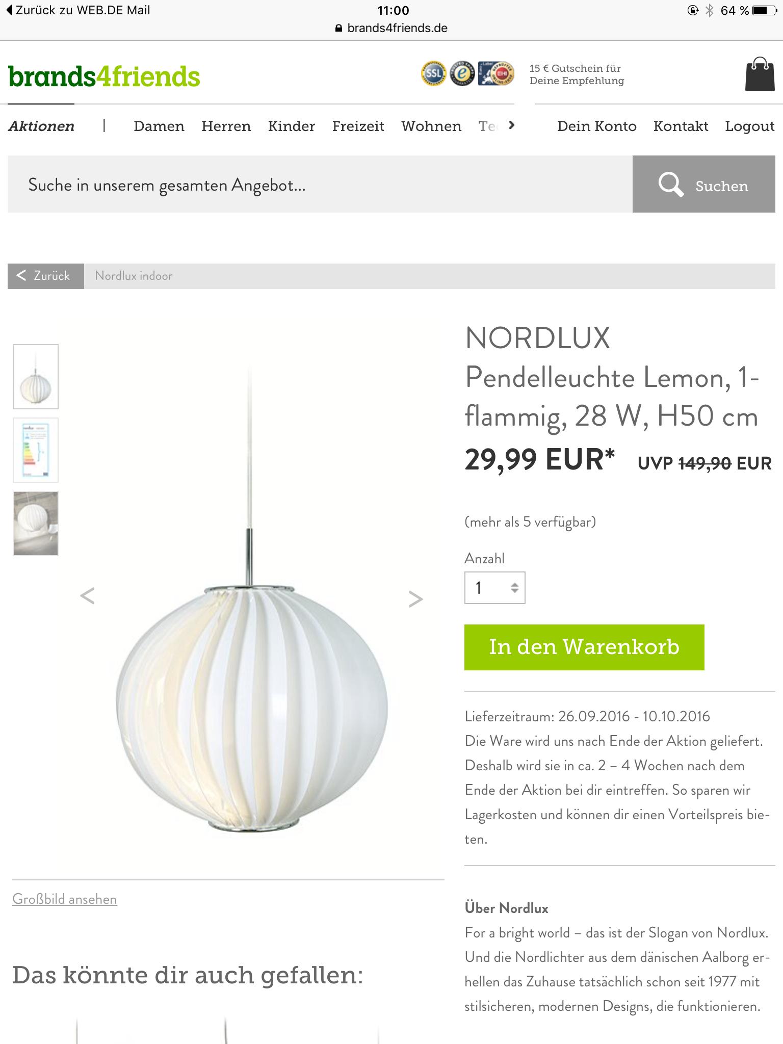 Nordlux Pendelleuchte Lemon (@brands4friends) (knapp50% unter Vergleichspreis)