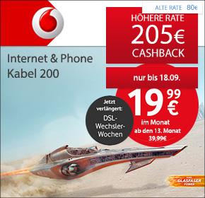 [Shoop] Vodafone: Internet & Phone Kabel 200 mit 50€ Online-Vorteil+ WLAN-Kabelrouter + 205€ Cashback (bis 18.09.2016)