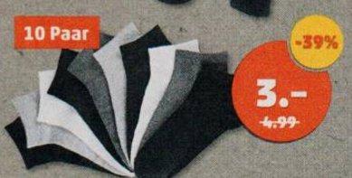10 Paare Sneakersocken einfarbig Weiß/Grau/Schwarz für 3€ [PENNY]