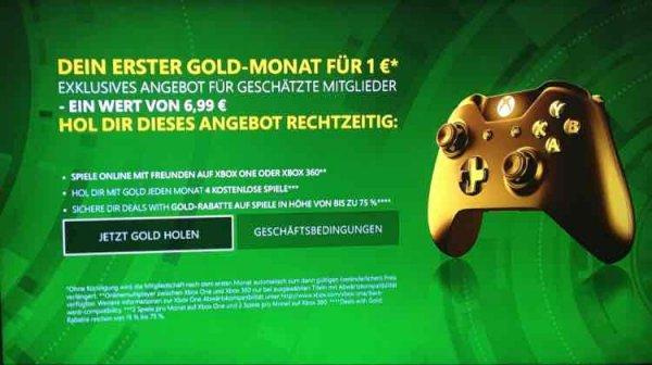 Xbox Live Gold für 1€