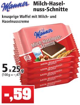 Manner Milch-Haselnuss-Schnitte 5x25g für 0,59€ [Thomas Philipps] [Ebay:8,39€ für 3x5]