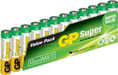 [Amazon prime] GP Super Alkaline AAA Micro Batterie (12-er Pack)