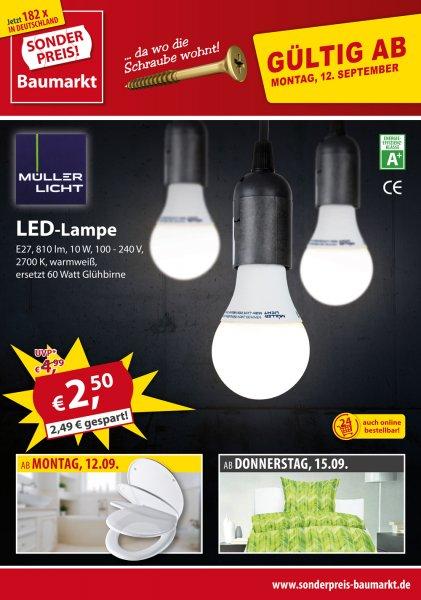 Offline bei Sonderpreis Baumarkt: E 27 LED-Leuchtmittel mit 810 Lumen nur 2,50 €