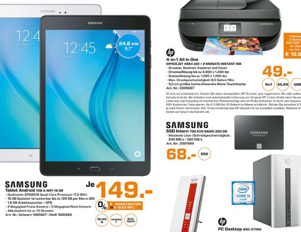 [Saturn Hamburg] Galaxy Tab A 16GB Wifi für 149€ (statt 194€)