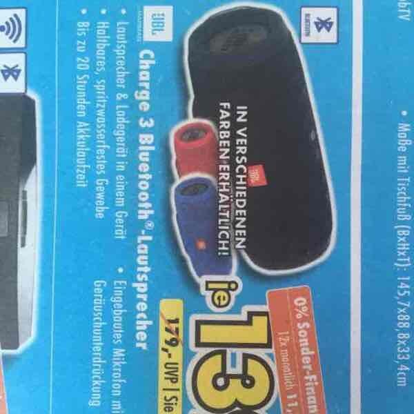 JBL Charge 3 Bluetooth Lautsprecher für 139 Euro, alle Farben, Euronics XXL evtl. lokal Ratingen