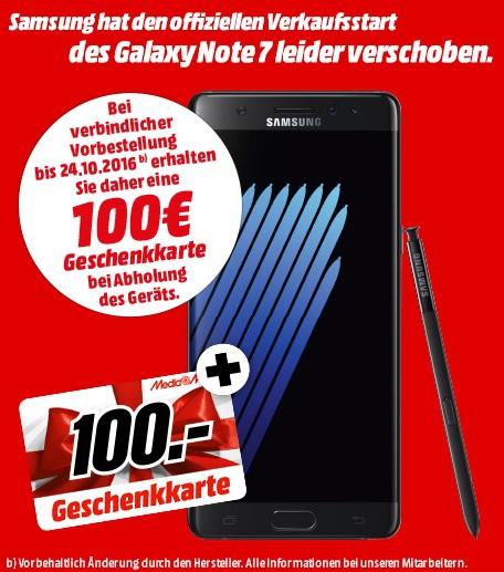 [Media Markt bundesweit] Samsung Galaxy Note 7 mit 100€ Media Markt / Saturn Geschenkkarte für 849,00€