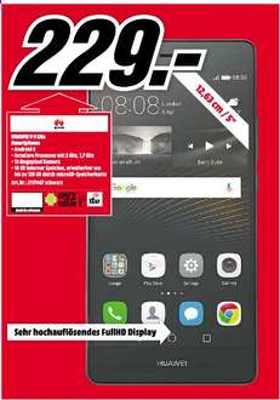 [Lokal Mediamarkt Ingolstadt] Huawei P9 Lite Smartphone 13,2cm/5,2 Android 6 13MP 16GB Hybridslot (Schwarz oder Weiß) für je 229,-€