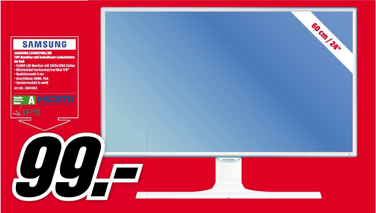 [Lokal Mediamarkt Ingolstadt] Samsung S24E370DL - 60 cm (23.6 Zoll), LED, PLS-Panel, AMD FreeSync, Wireless Charging, DisplayPort für 99,-€