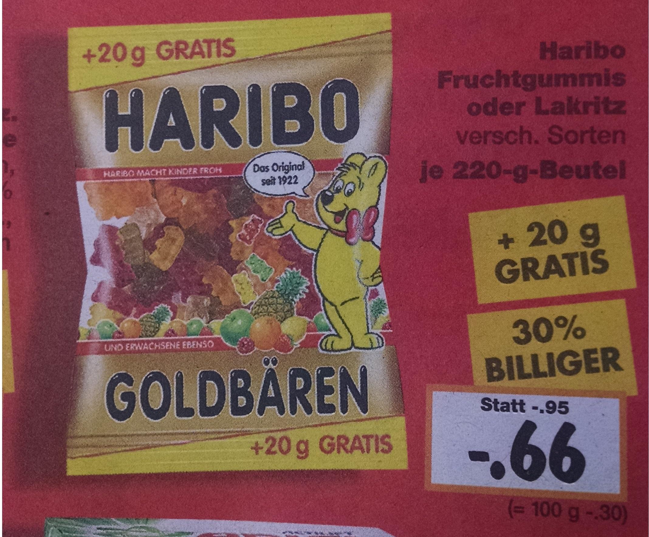 [Kaufland] Haribo Fruchtgummi oder Lakritz | 30% billiger | +20g gratis | bundesweit