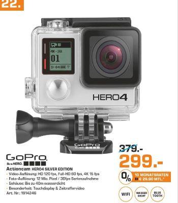 [Lokale Saturnmärkte im Osten der BRD] GoPro HERO 4 Silver Edition Adventure Action-Cam silber für 299,-€
