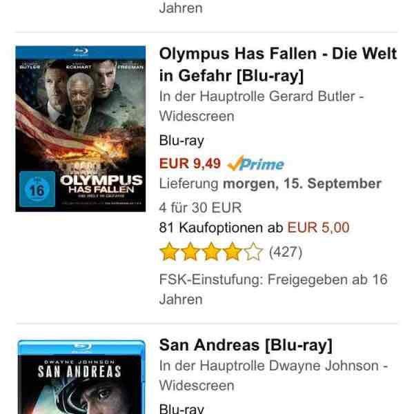 Amazon 4 Blu Rays für 30 Euro