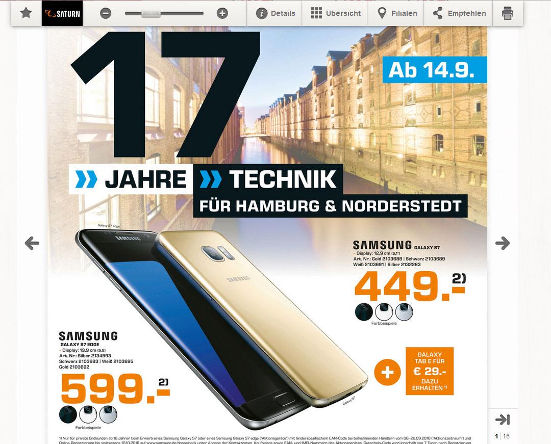 [Lokal Saturn Hamburg] Samsung Galaxy S7 32GB