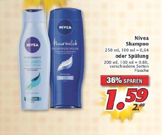 [Marktkauf bzw. real + Reebate + Coupon] Nivea Shampoo oder Spülung für 0,59€ bzw. 0,79€