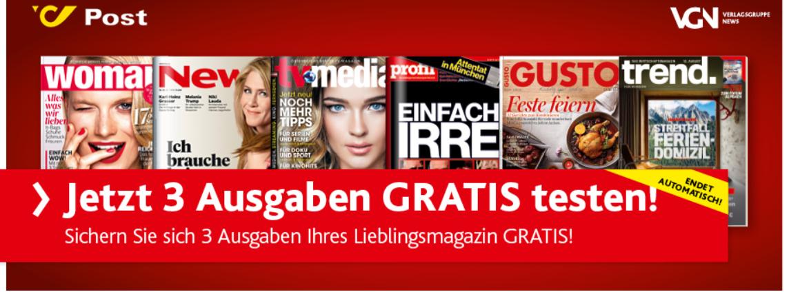 [Österreich Post/VGN] 3 Ausgaben verschiedener Zeitschriften Gratis testen  - Endet Automatisch