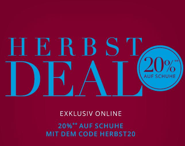 Herbst-Deal: 20% Rabatt auf ausgewählte Schuhe bei Peek & Cloppenburg (auch Sale) + gratis Versand
