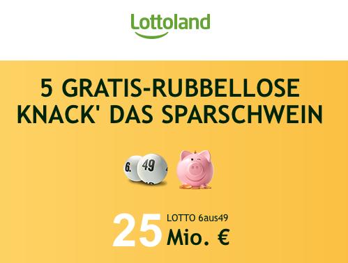 """[Lottoland] 6 Felder + 5 """"KNACKx27 DAS SPARSCHWEIN"""" Lose für 6,50€ statt 7,75€"""