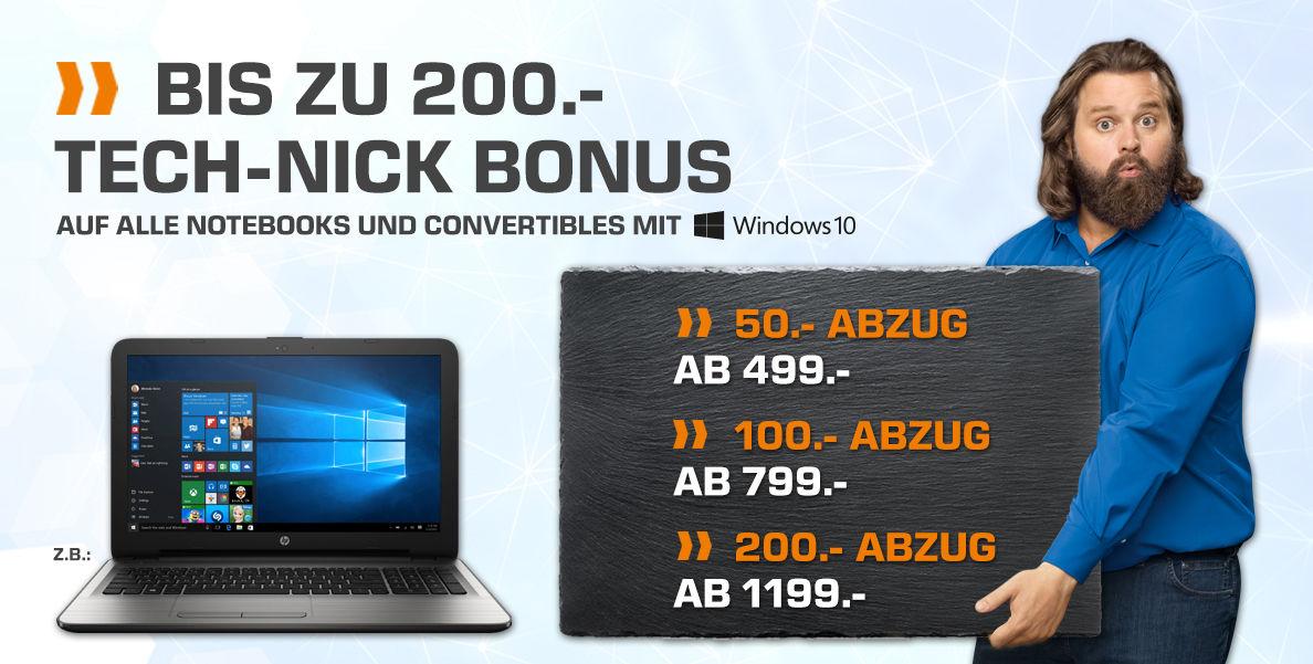 Notebooks mit Win10 bei Saturn.at bis zu 200€ günstiger durch Sofortabzug