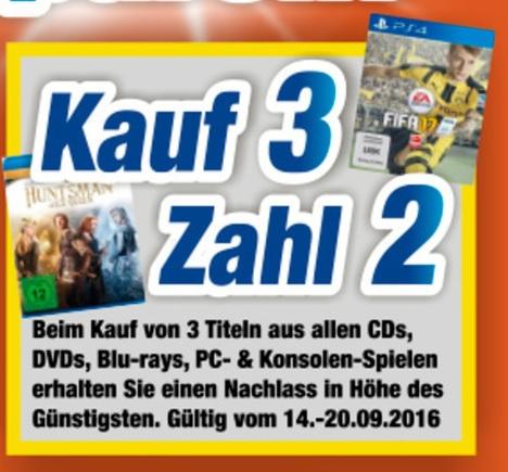 [lokal Coburg / Meiningen / Neustadt / Suhl] Kauf 3, zahl 2 Aktion auf CDs, DVDs, BluRays, PC& Konsolenspiele @ expert