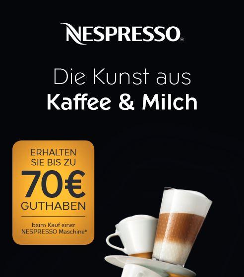 Bis zu 70 € Nespresso Guthaben bei Kauf einer Nespresso Maschine