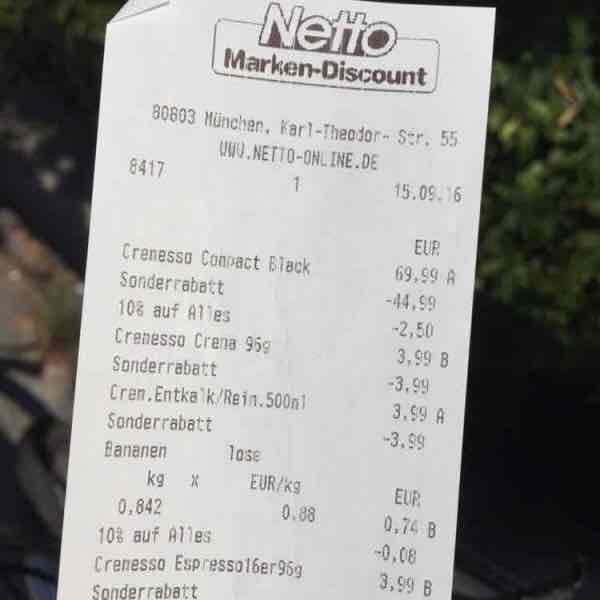 NETTO München Karl Theodor Str. Cremesso Kaffeemaschine mit 48 Kapseln und Reiniger/Entkalker für 22,50!!!