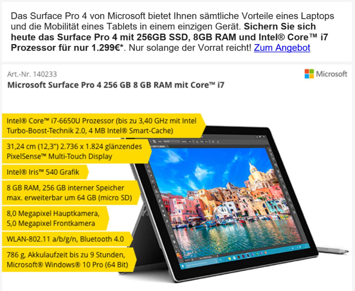 Surface Pro 4 i7 256GB 8GB RAM für 1299€ bei Comtech