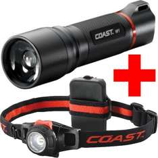 Coast HP7 LED Taschenlampe + HL7 Stirnlampe – Heller als Zweibrüder H7.2 P7.2 (AMAZON)