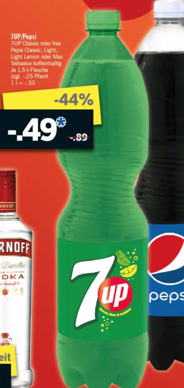"""[Lidl] 7UP Classic oder free, Pepsi Classic, light, light lemon oder Max je 1,5l für 0,49€ (0,33€/l) am """"Super Samstag"""" dem 24.09.2016"""