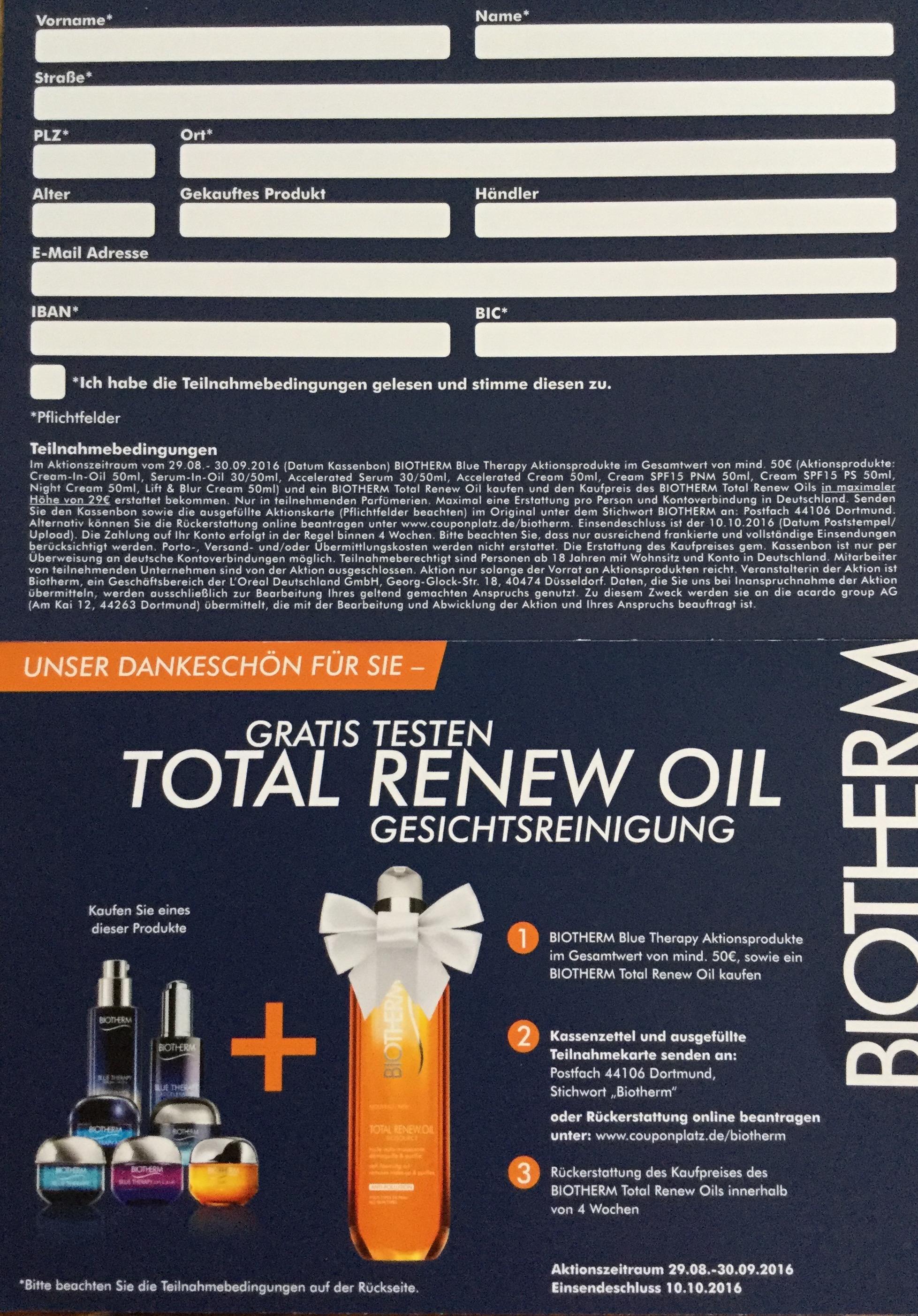 Geld zurück für Biotherm Total Renew Oil beim Kauf von weiteren Produkten im Wert von 50,- €