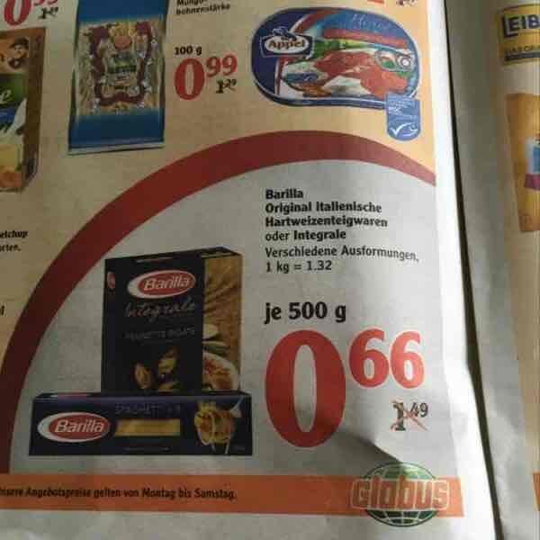Barilla 500g verschiedene Sorten 0,66€ - Globus (Schwandorf evtl. Bundesweit)