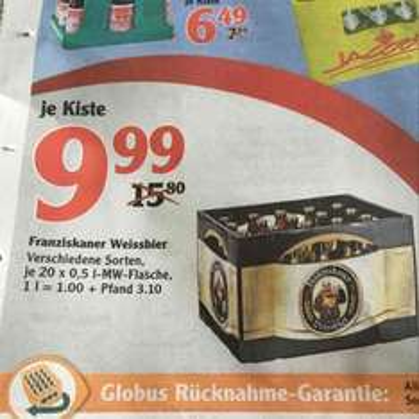 Franziskaner Weissbier 20x0,5 für 9,99€ - Globus (Schwandorf evtl Bundesweit)
