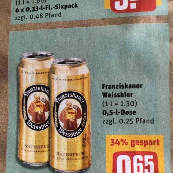 Franziskaner Dosenbier 0,5 für 0,65€ - REWE (Bayern)