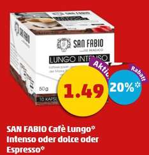 [Penny] 10 Kaffee Kaspeln von San Fabio (kompatibel Nespresso) heute mit extra 20% APP rabatt