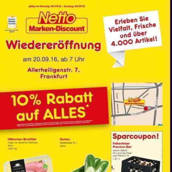 [lokal frankfurt main] 10% auf alles im netto markendiscount am 20.9.