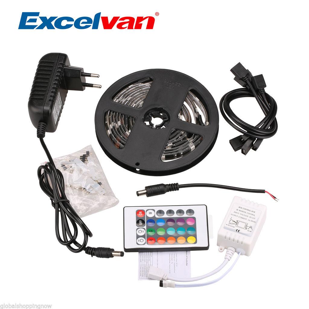 4x LED-Licht-Streifen RGB je 50 cm wasserdicht IP65 + 4-Link-Kabel + Fernbedienung mit Farbeinstellung + Trafo inkl. VERSAND @EBAY